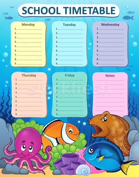 Hebdomadaire école calendrier nature mer art Photo stock © clairev