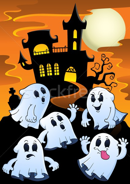 Ghosts near haunted house theme 1 Stock photo © clairev