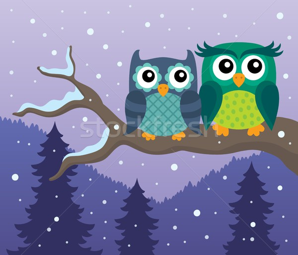 Stylized owls on branch theme image 4 Stock photo © clairev