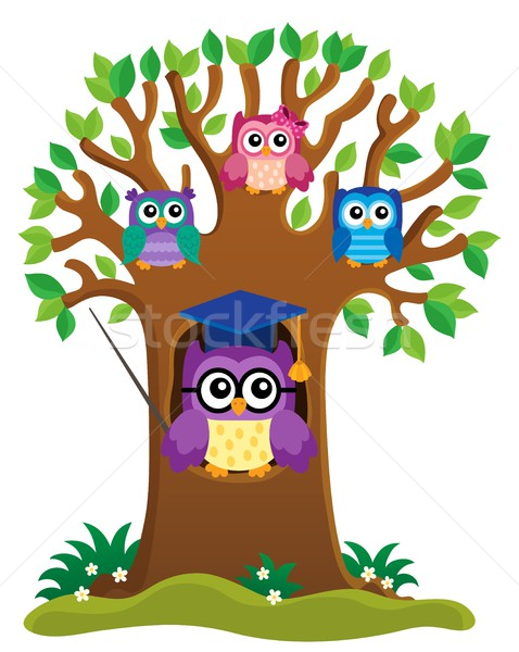 Tree with stylized school owl theme 1 Stock photo © clairev