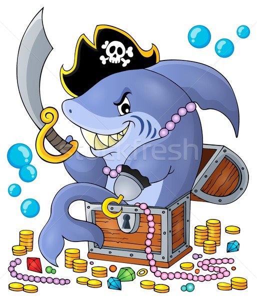 Pirate shark with treasure theme 1 Stock photo © clairev