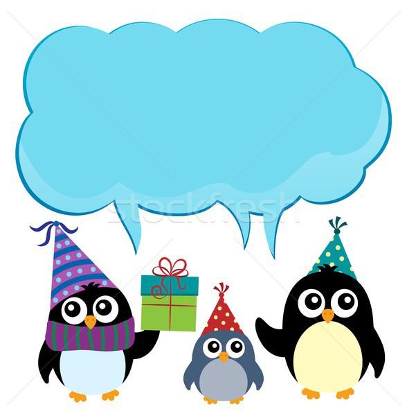 Fête espace de copie anniversaire art boîte oiseaux Photo stock © clairev