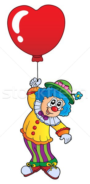 Stockfoto: Clown · hart · ballon · kunst · kleding