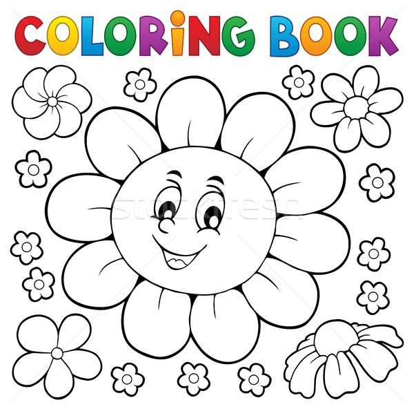 Coloring book happy flower head 1 Stock photo © clairev