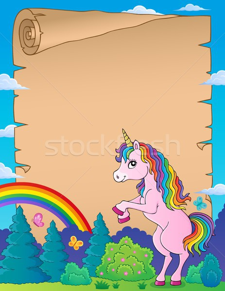 Parchment with standing unicorn theme 1 Stock photo © clairev