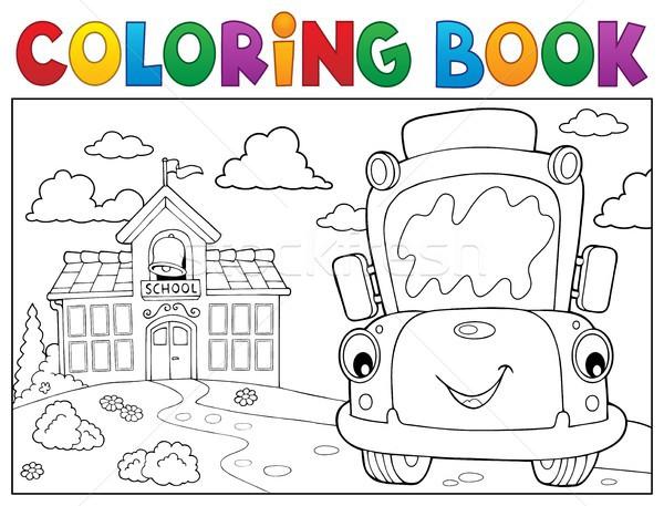 Kifestőkönyv iskolabusz könyv szem arc épület Stock fotó © clairev