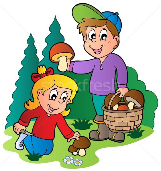 Kids picking up mushrooms Stock photo © clairev