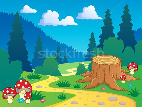 Рисунок леса с тропинками