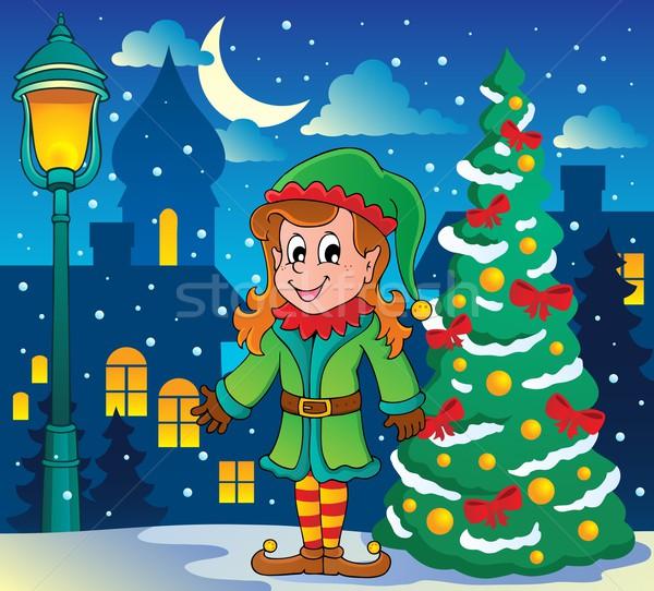 Weihnachten elf Baum Lächeln Kunst lächelnd Stock foto © clairev