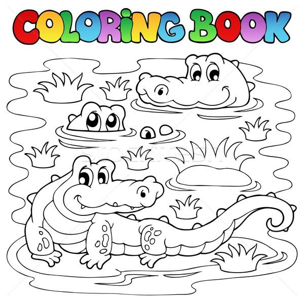Libro da colorare coccodrillo immagine acqua for Coccodrillo da colorare