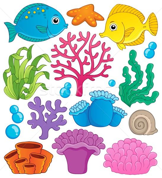 Colección peces naturaleza hoja arte Foto stock © clairev