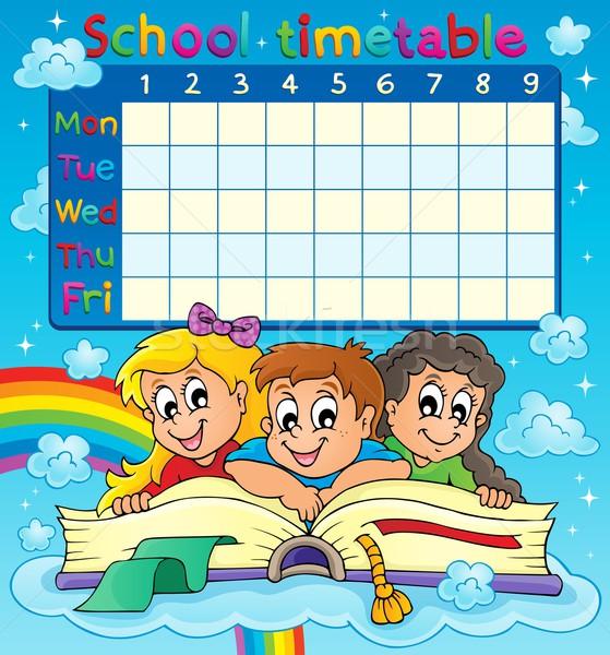 School dienstregeling afbeelding kinderen boek gelukkig Stockfoto © clairev