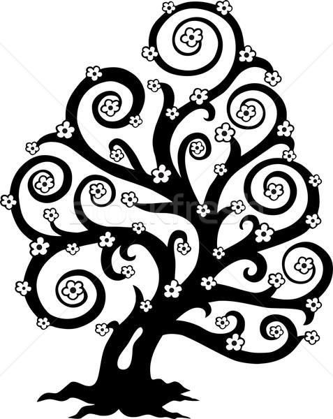Stockfoto: Gestileerde · boom · bloeien · silhouet · bloem · natuur