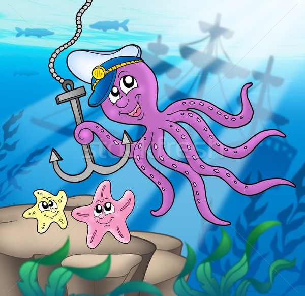 Octopus with anchor and starfishes Stock photo © clairev