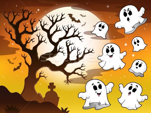 Foto stock: Assustador · árvore · tópico · imagem · céu · lua
