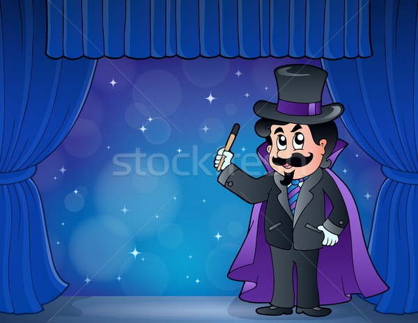 Magician on wide stage Stock photo © clairev