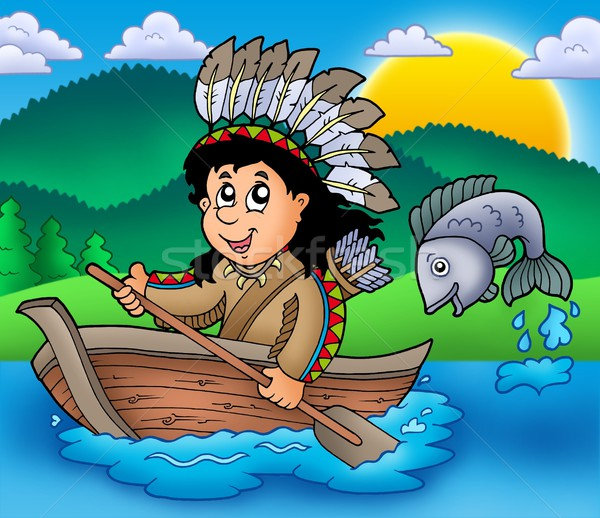 Native American Indian in boat Stock photo © clairev