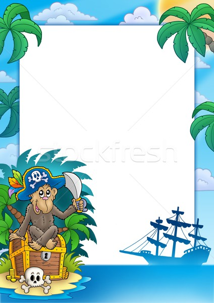 Stock photo: Pirate frame with monkey