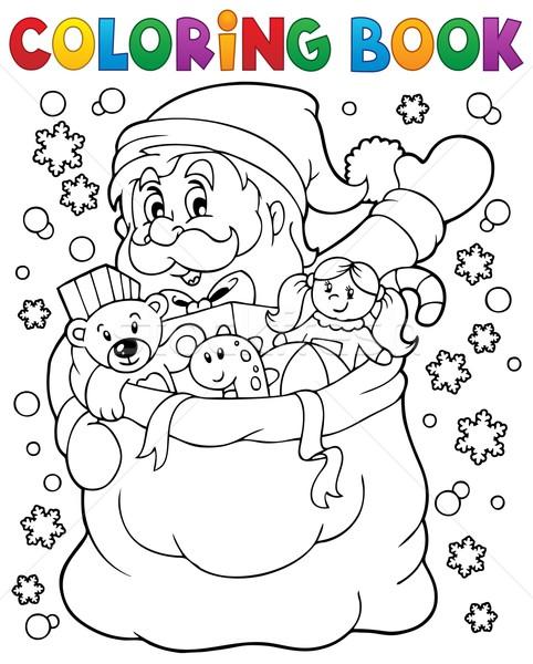 Boyama Kitabı Noel Baba Kar Kitap Boya çanta Vektör