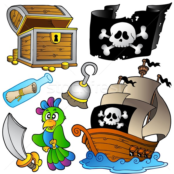 Pirate collection with wooden ship Stock photo © clairev