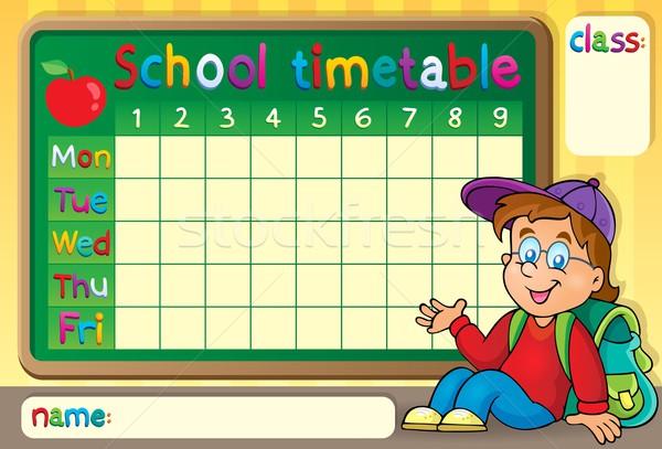 School timetable with happy boy Stock photo © clairev