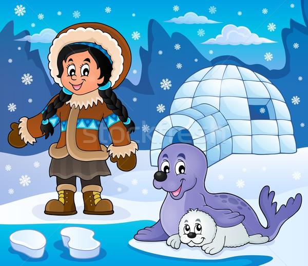 Арктика изображение девушки улыбка снега льда Сток-фото © clairev