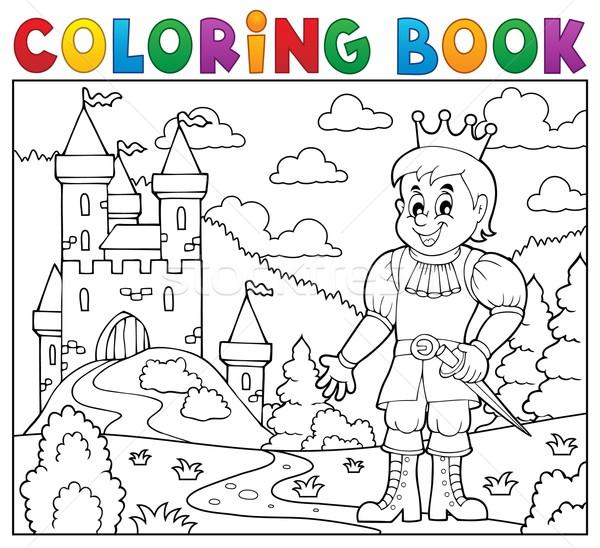 Boyama Kitabı Prens Kale Kitap Bina Adam Vektör