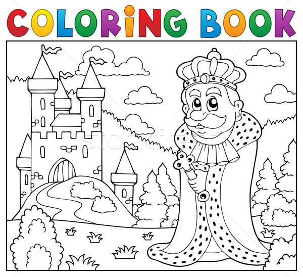 Foto d'archivio: Libro · da · colorare · re · castello · libro · uomo · vernice