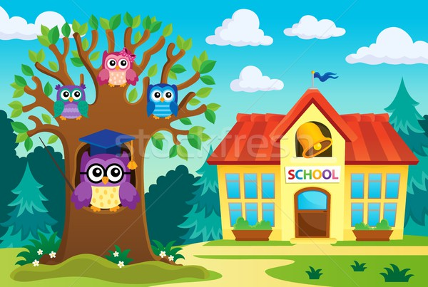Tree with stylized school owl theme 6 Stock photo © clairev