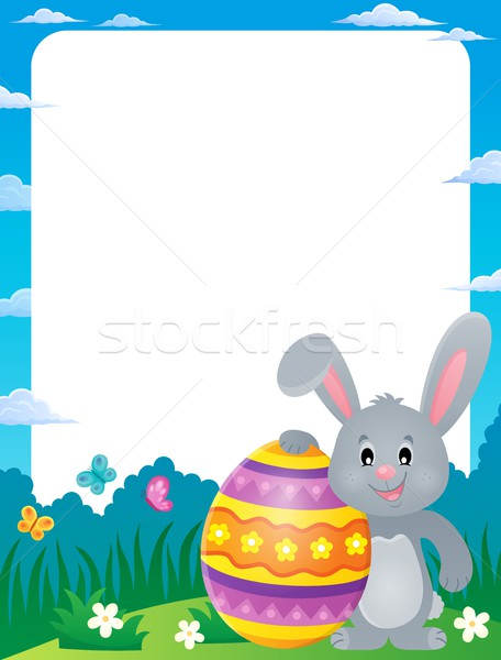 Frame with stylized bunny and Easter egg Stock photo © clairev