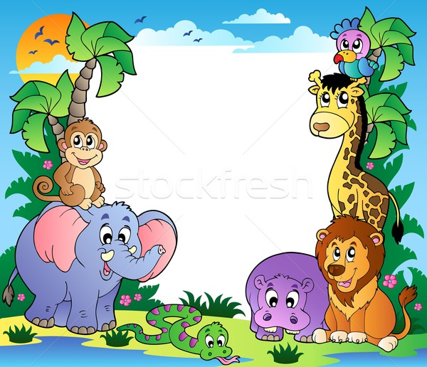 Frame with tropical animals 2 Stock photo © clairev