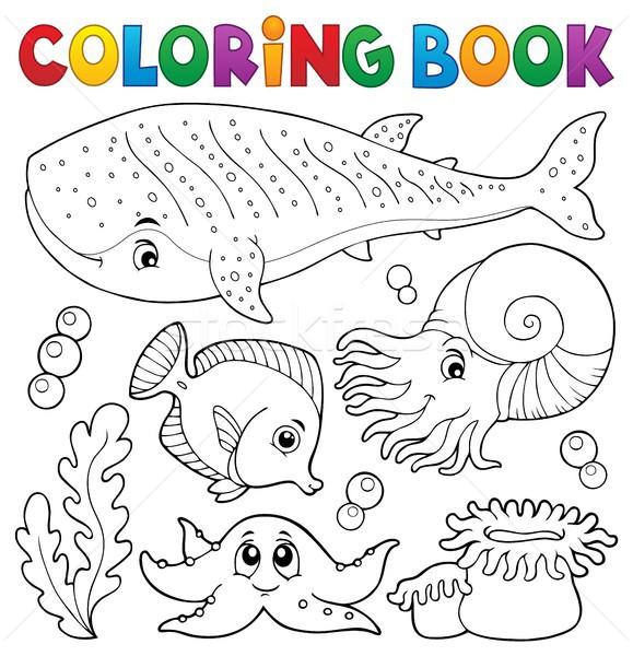 Coloring book ocean life theme 1 Stock photo © clairev
