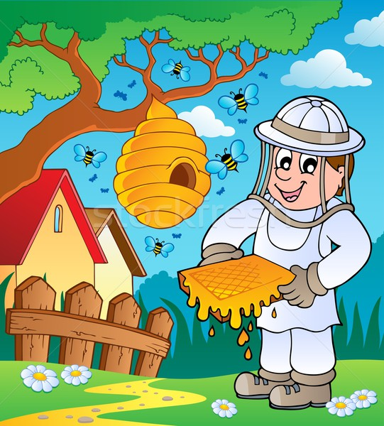 Beekeeper with hive and bees Stock photo © clairev