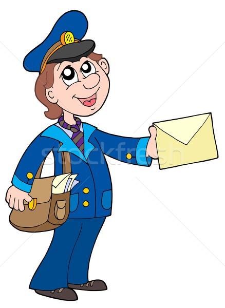 Cute listonosz list działalności uśmiech mail Zdjęcia stock © clairev
