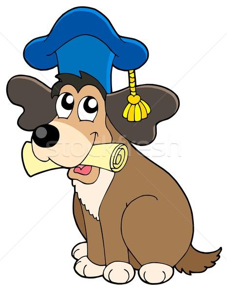 Dog teacher in hat Stock photo © clairev