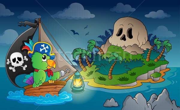 Stock photo: Theme with pirate skull island 1