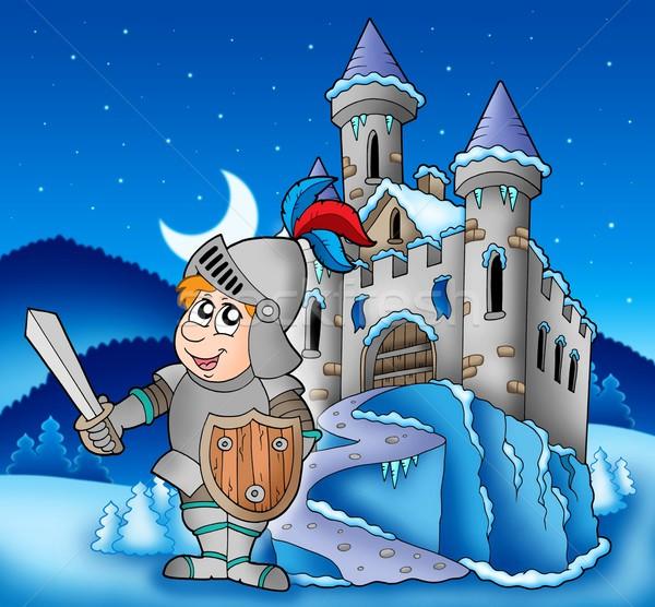 Stockfoto: Kasteel · ridder · winter · landschap · kleur · illustratie