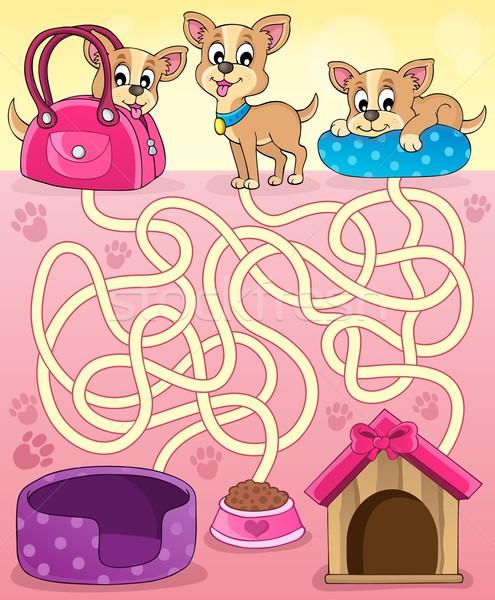 Labirintus 13 kutyák boldog művészet táska Stock fotó © clairev