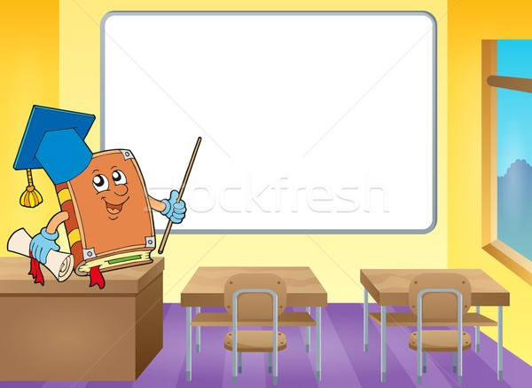 Book teacher by whiteboard Stock photo © clairev