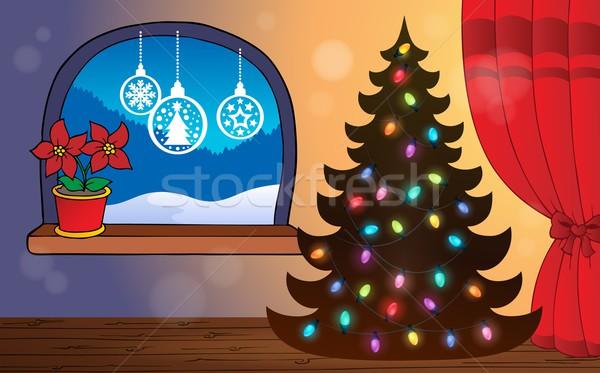 Natal tópico cabo luzes silhueta Foto stock © clairev