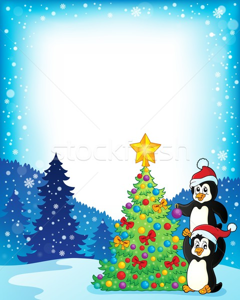 Frame with penguins near Christmas tree Stock photo © clairev