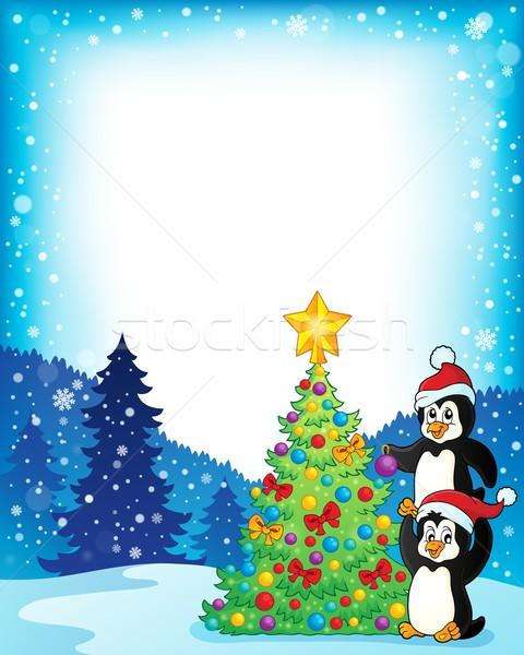 кадр рождественская елка дерево птица птиц животные Сток-фото © clairev