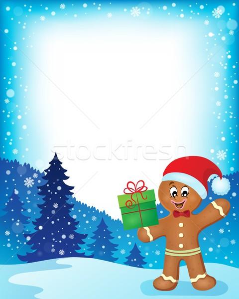 Колобок кадр продовольствие снега подарок Hat Сток-фото © clairev