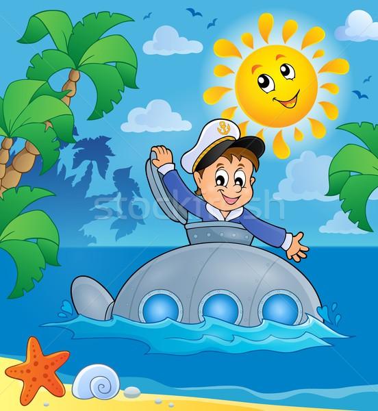 Tengeralattjáró matróz kép víz mosoly nap Stock fotó © clairev