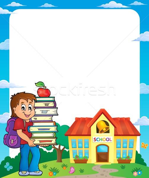 Keret iskolás fiú mosoly épület könyvek iskola Stock fotó © clairev