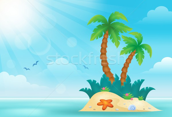 Tropisch eiland afbeelding water natuur kunst palm Stockfoto © clairev