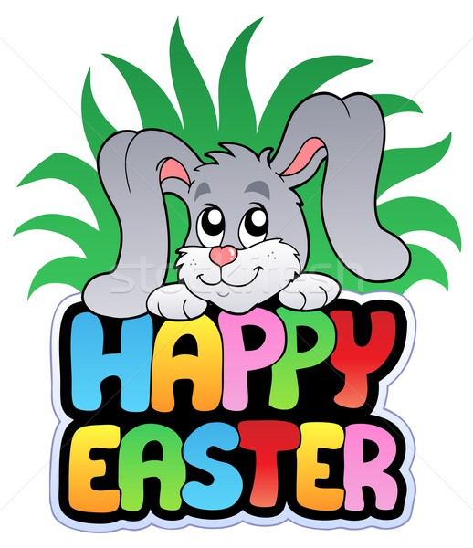Happy Easter sign with cute bunny Stock photo © clairev