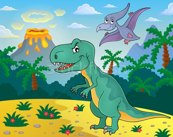 динозавр тема изображение горные искусства песок Сток-фото © clairev