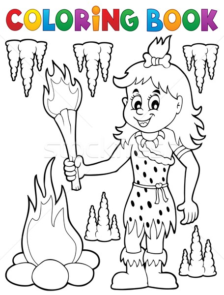Coloring book cave woman theme 1 Stock photo © clairev