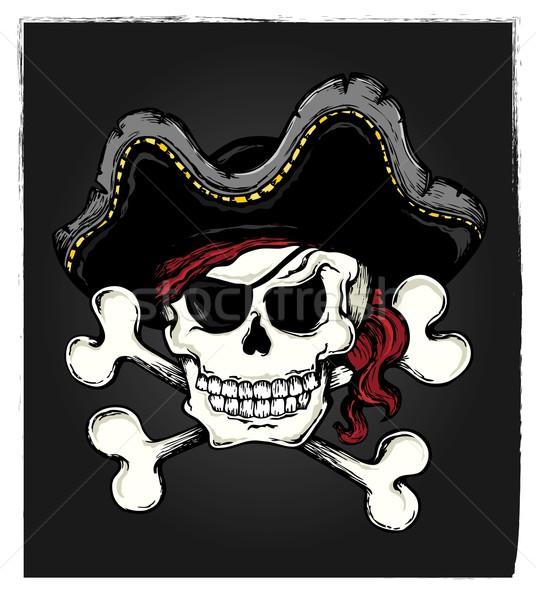 Vintage pirate skull theme 3 Stock photo © clairev